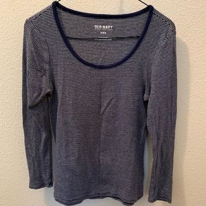 Navy Striped Tee Top